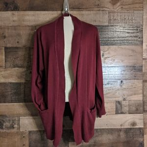 Women's long open cardigan sweater with pockets